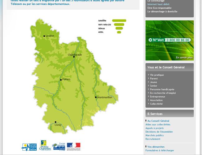 Couverture internet et haut débit de la Vienne