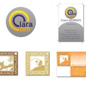 Création de Logo pour Clara, consultante en communication et Maurice Chatelin, Photographe animalier