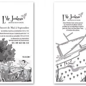 Concour en équipe avec Cécile Doucet : Flyer pour le restaurant Ile Jouteau, à Poitiers (concour gagné).