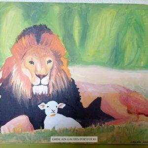 Le lion et l'agneau, d'après photo.