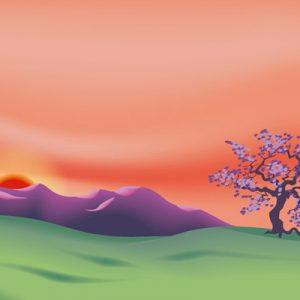 Illustration : paysage zen, vectoriel
